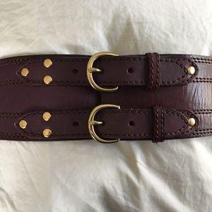Linea Pelle Dark Violet Corset Waist Belt Size M